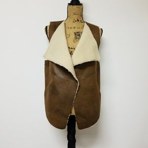 IZOD Faux leather and wool lined vest